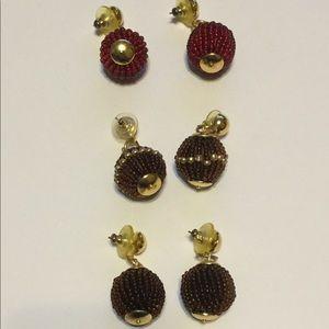 Vtg Beaded Ball Earrings 3 pair Red & Dark Brown
